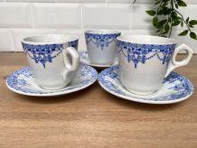 3 Tasses à thé et leur sous-tasses en faïence de Wasmuel