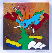 Peinture toile carrée petit format Décoration murale colorée