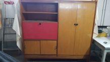 Beau meuble bureau/ bibliothèque/armoire bicolore années 50