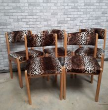 5 chaises BAUMANN  1970s  velours  panthere tres kitch    et