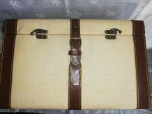 Mallette sacoche vintage en toile et simili cuir