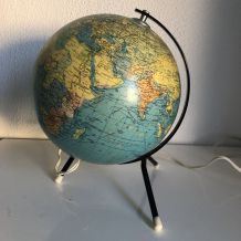Globe vintage 1962 terrestre tripode Taride verre - 28 cm