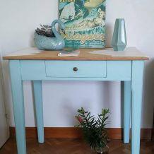 table-bureau de ferme vert mentholé
