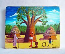 Peinture sur toile de l'artiste Sénégalais Maxseck. Vintage.