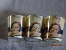 3 petits photophores romantiques anges verre