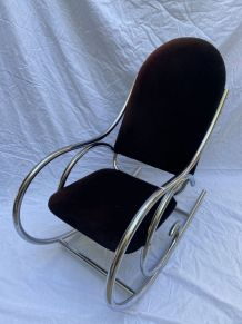 Fauteuil/rocking chair velour marron - Travail Francais