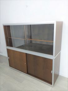 Meuble double de rangement de bureau design Ciolino années70