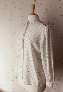 70s chemise fluide écru motifs étoiles brun S/XL