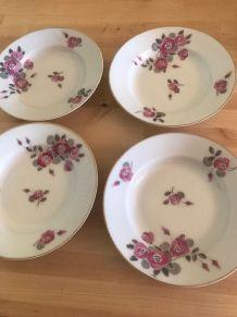 Assiettes en porcelaine vintage decor fleurs modernes