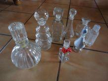 Flacons en verre sel de bain collection  8 + 2 bouchons