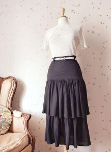 80 jupe midi volants laine noire taille haute 36