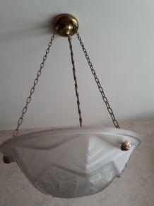 Suspension vintage verre depoli