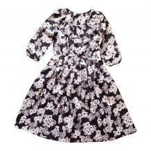 70s robe pierrot fleurs noir blanc S