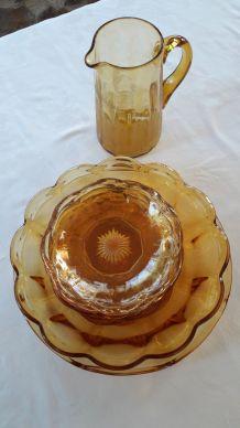 Service vaisselle Vintage Années 50 en verre jaune