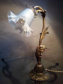 lampe de bureau 1920  ,bronze,laiton,  regule patiné doré ,