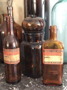 Trio apothicaire marron vintage
