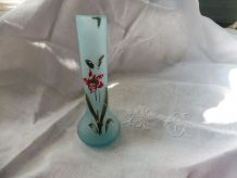 Soliflore vase pâte de verre 1920 turquoise