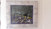 Tableau signé peinture huile  scène champêtre Cueillette de