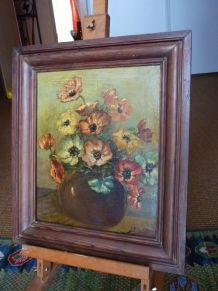 tableau peinture sur bois signée H.Brandys bouquet de fleurs