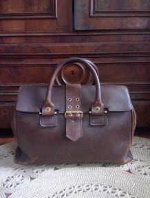 Ancien sac d'instituteur en cuir (Années 60)
