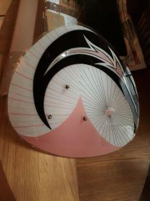 Suspension  palette plafonnier rose et noir design 1950 a 70