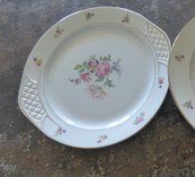 """2 Plats année """"30"""" motifs fleurs porcelaine"""