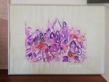 Dessin aquarellé sur papier Soirée Cabaret  - REJAS PABLO