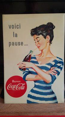"""JOLIE TÔLE PUBLICITAIRE COCA-COLA """"VOICI LA PAUSE"""" 1966"""