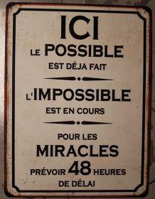 Plaque métal vintage Le possible