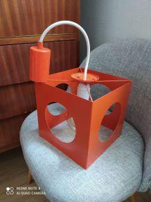 Jolie plafonnier orange design année 70 vintage