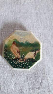 Broche Vintage signée Minia Peinte main  motif animalier