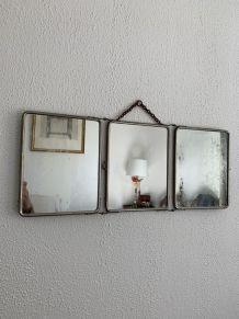 Miroir vintage 1910 triptyque barbier Le Solide Paris