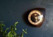 """Horloge vintage pendule silencieuse """"Jura rouge et noir"""""""