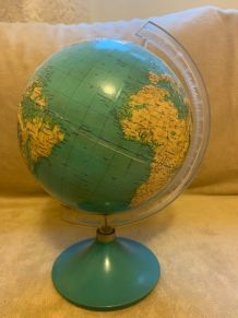 Globe terrestre vintage Mapemonde années 60/70 bleu vert tur