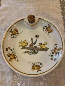Assiette en porcelaine pour bébé réserve d'eau 1963