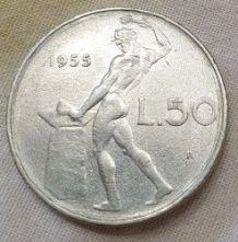 Lot de 2 Pièces de 50 Lires Italiennes 1954-55