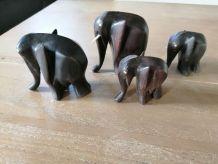 lot de 4 éléphants en bois d'ébène