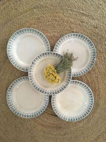 Assiettes dessert terre de fer Digoin Sarreguemines.