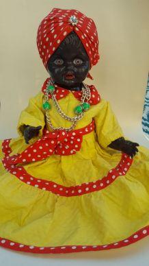 Ancienne poupée noire FEJ vintage 47 cm