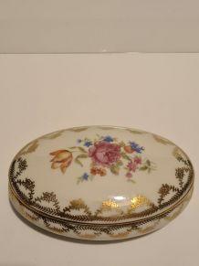 Boîte Porcelaine De Limoges Décor Floral