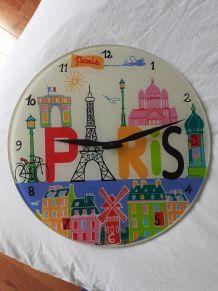 Horloge murale PARIS en verre