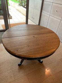 Table ronde en chêne + rallonge