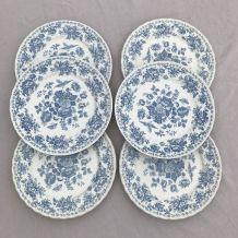 Série de 6 assiettes - en porcelaine anglaise