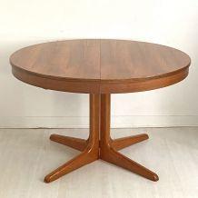 Table ronde extensible scandinave en teck vintage 60's