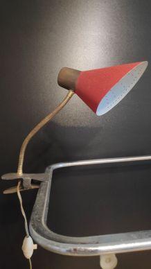 lampe cocotte à pince vintage rouge et doré