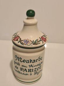 Pot moutarde Parizot faïence Digoin Sarreguemin décor floral