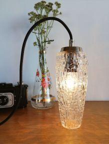 """Lampe Baladeuse vintage suspension en verre ciselé """"Agathe"""""""