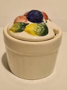 Sucrier céramique décor à la barbotine mûres, sans marque