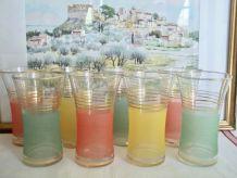 8 grands verres à orangede granité vintage 1950 TBE