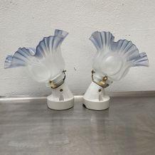 LOT 2 LAMPES APPLIQUES TULIPES VINTAGE